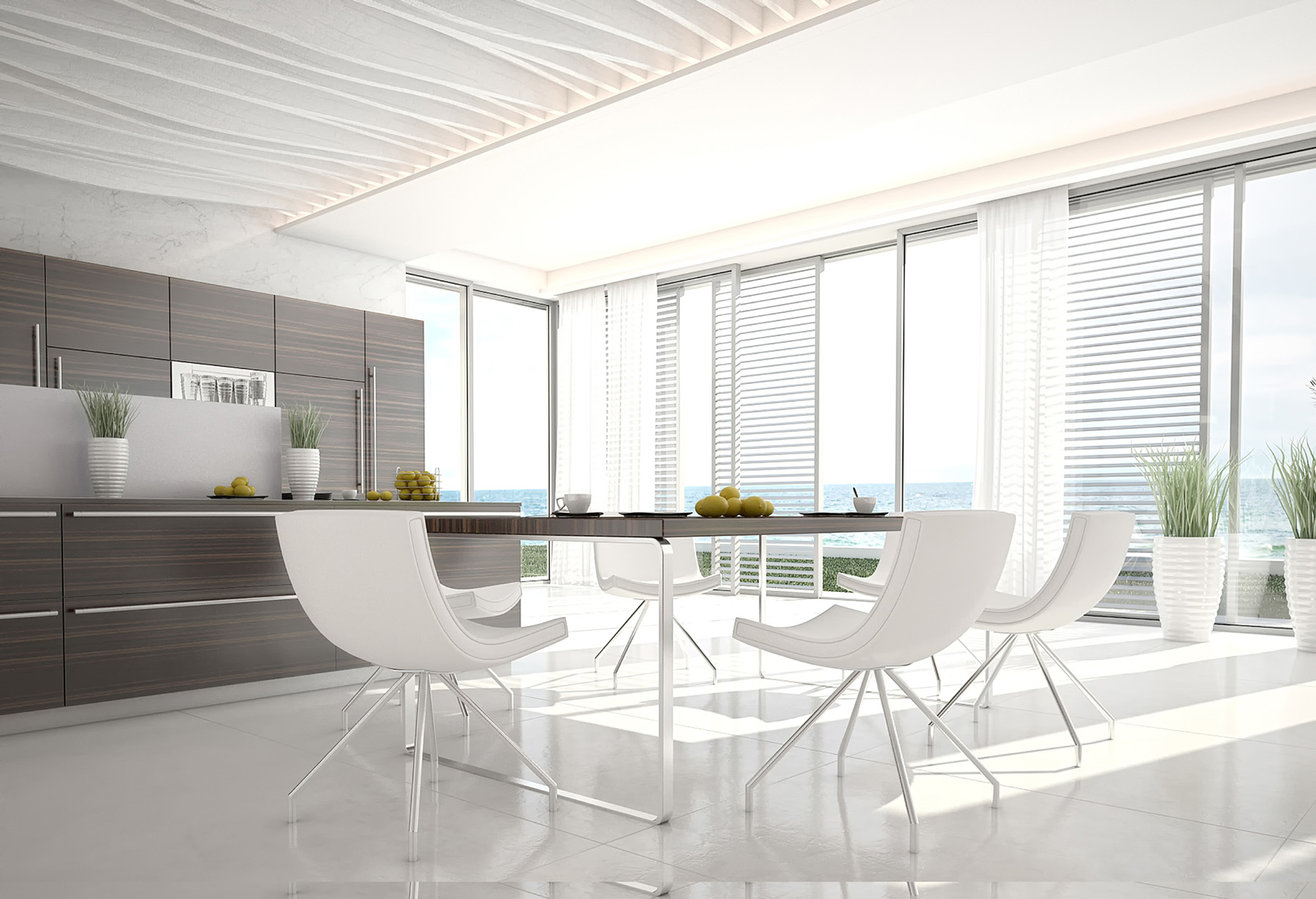 stylish kitchen with dark and white furniture